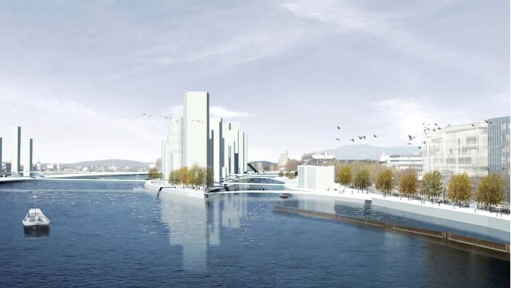 Hochhäuser statt Tankschiffe: So soll Basel Nord künftig aussehen.