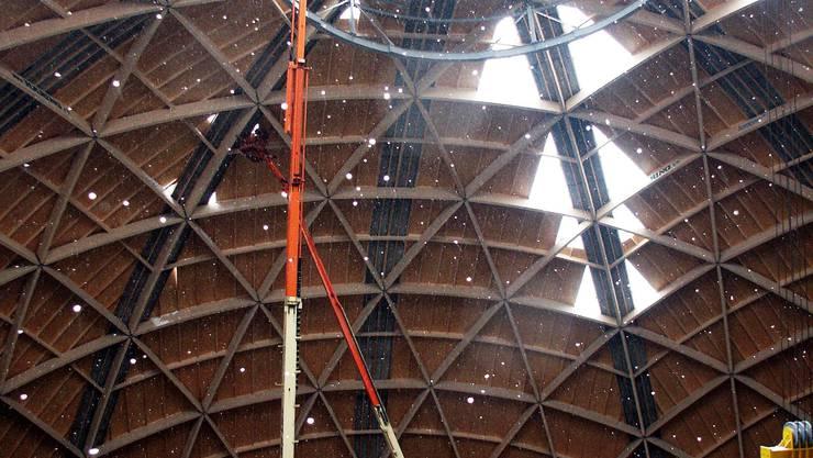 Kuppelbau Saldome als eindrückliche Holzkonstruktion.