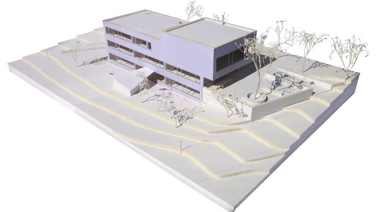 Das neue Schulhaus, wie es sich im Modell präsentiert.