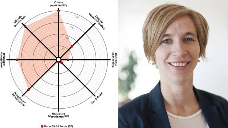 Karin Bächli (SP) will neu den Sprung in den Stadtrat schaffen. Der Smartspider zeigt ihr politisches Profil.
