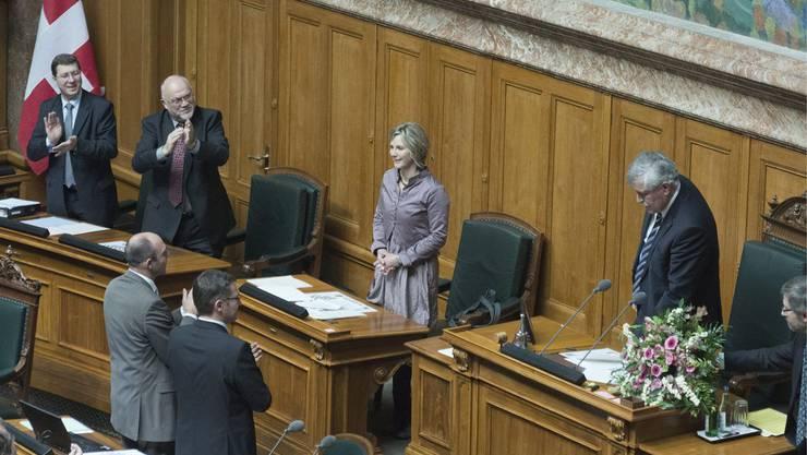 Applaus für die frisch gewählte Nationalratspräsidentin Maya Graf.