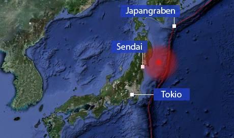 Das aufeinandertreffen der pazifischen und eurasischen Platte am Japangraben (rot) hat zum Erdbeben in der Region geführt. (Grafik: Michael Küng)