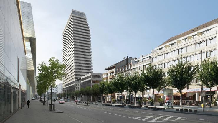 Der Claraturm am Riehenring soll 90 Meter hoch werden. Auf 21 der 28 Etagen sind 170 Wohnungen im mittleren Preissegment vorgesehen.  ZVG