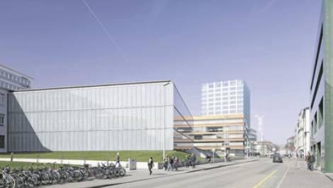 Das geplante Biozentrum auf dem Schällemätteli-Areal gesehen von der Spitalstrasse her (Visualisierung)