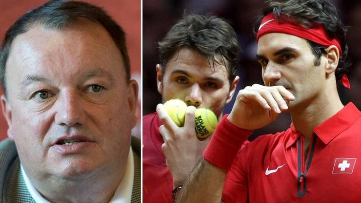Weder Wawrinka noch Federer wollen 2015 am Davis Cup teilnehmen. Verbandschef René Stammbach (r.) hofft auf eine spätere Rückkehr.