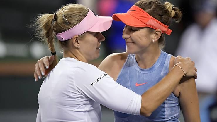 Angelique Kerber (links) beendete die Siegesserie von Belinda Bencic im Halbfinal des Turniers von Indian Wells in 68 Minuten.