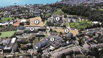 Das neue Kinderspital (Gebiete 2 und 3) wird in Zürich-Lengg in direkter Nachbarschaft zur psychiatrische Uniklinik (1) und den Kliniken Schulthess (4) und Balgrist (5) entstehen.