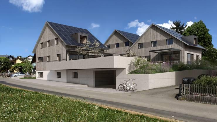 So sollen die nachhaltigen Einfamilienhäuser am Bünzer Moosweg dereinst aussehen.