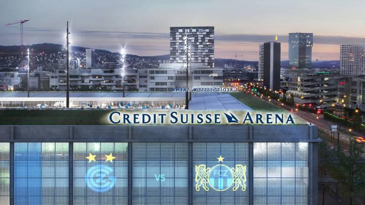 """Die Grossbank Credit Suisse hat sich die Namensrechte für das geplante Fussball-Stadion auf dem Hardturm-Areal für zehn Jahre gesichert. FCZ und GC sollen in der """"Credit Suisse Arena"""" spielen."""