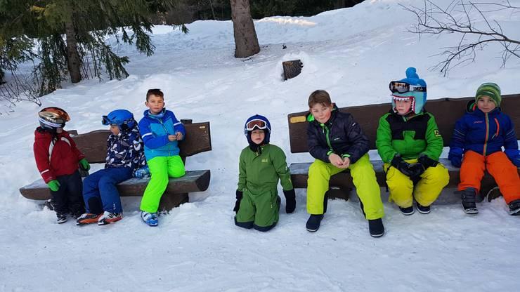 Pause in der lagereigenen Skischule