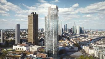 Der «Gran Tower» in Frankfurt (Bildmitte) Hier entsteht mit 172 Meter Höhe, 47 Stockwerken und 401 Wohnungen der höchste Turm Deutschlands.