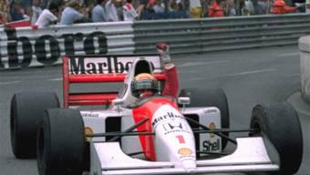 Ayrton Senna ballt die Faust nach einem seiner zahlreichen Siege am 31. Mai 1992 in Monaco