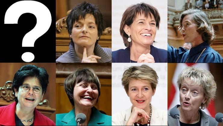 Die sieben Bundesrätinnen mit Kurzhaarfrisuren...