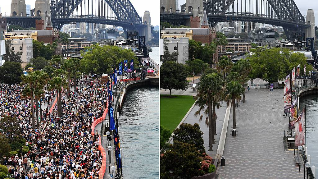 A composite image created on Thursday, December 31, 2020, compares the Circular Quay New Year's Eve. 2019 crowd size with 2020. **..NSW Police patrol Circular Quay on New Year's Eve in Sydney, Thursday, December 31, 2020. Sydneysiders were asked to stay home and watch the fireworks on television this year to due the COVID-19 pandemic. (AAP Image for NSW Government/Dan Himbrechts) NO ARCHIVING.***.Crowds building around the Sydney Harbour foreshore at Circular Quay during New Year's Eve celebrations in Sydney, Tuesday, December 31, 2019. (AAP Image for City of Sydney/Dean Lewins) NO ARCHIVING, EDITORIAL USE ONLY