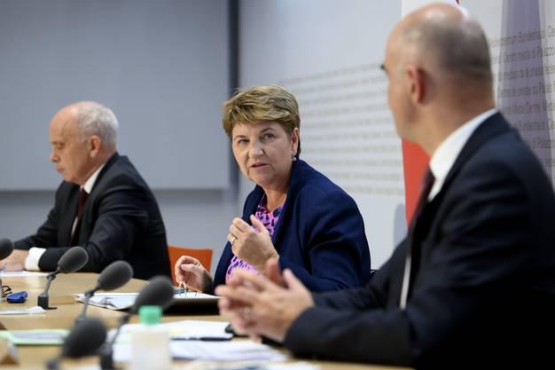 Sportministerin Viola Amherd am Mittwochnachmittag bei der Medienkonferenz des Bundes.
