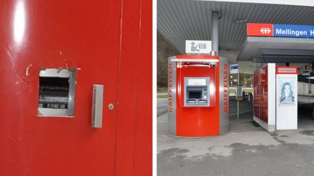 Bancomat der Raiffeisen wurde am Bahnhof Heitersberg in Mellingen ausgeraubt.