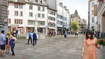 Bis 2023 soll die Freie Strasse zur Flaniermeile umgestaltet werden. (Visualisierung)