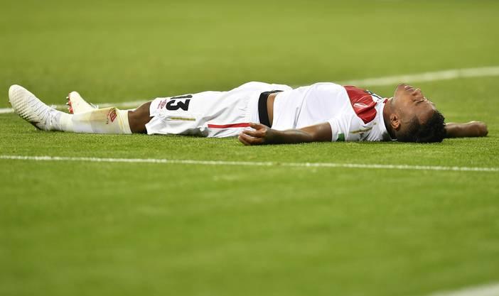 Perus Renato Tapia geschlagen am Boden: Peru war gegen Dänemark die bessere Mannschaft, muss sich aber mit einer Niederlage abfinden