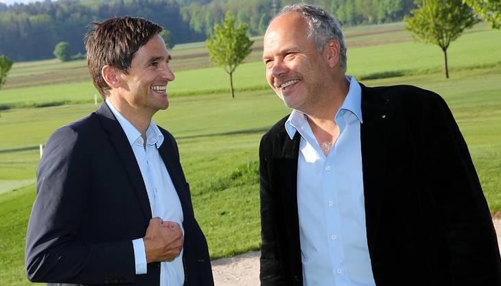 Jochen Müller (Leiter des Direktionsbereichs Freizeit der Migros Aare) und der bisherige Mehrheitsaktionär Rudolf Schnorf.