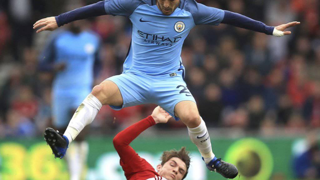 Manchester City mit David Silva übersprang die Hürde Middlesbrough