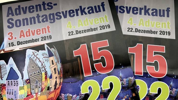 Der GVG machte mit Plakaten auf die zwei Sonntagsverkäufe aufmerksam.