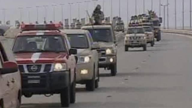 Saudische Truppen bei ihrem Einmarsch in Bahrain am 14. März 2011 (Quelle: Bahrain TV)