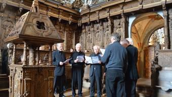 Der Chor mit Organist und Leiter Hans Zumstein (links).Vera Frey
