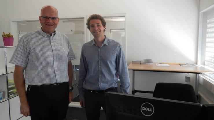 Markus Schindelholz (l.) und Thomas Schweizer in einem der Co-Working-Spaces in der Naturpark-Infostelle