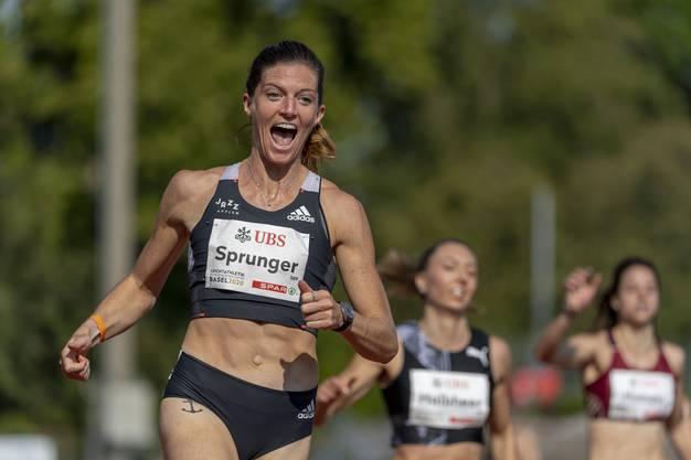 Eine zufriedene Lea Sprunger nach der viertbesten 200-m-Zeit ihrer Karriere.