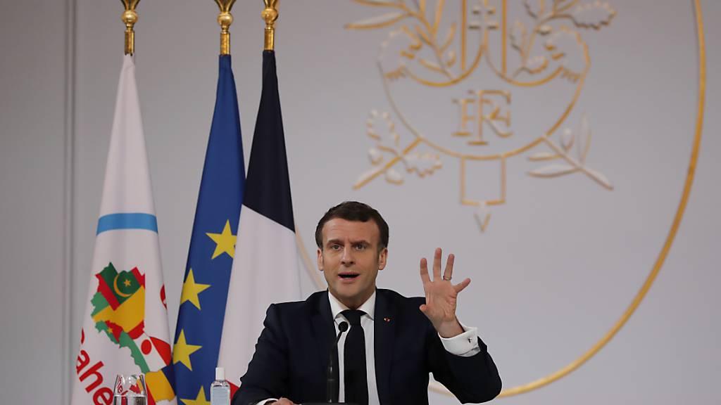 Frankreichs Präsident Emmanuel Macron. Foto: Francois Mori/AP Pool/dpa