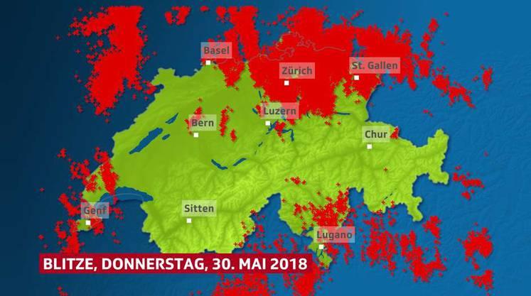 Blitzeinschläge in der Schweiz.