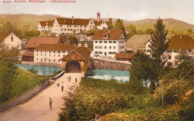 Die Holzbrücke des Klosters Wettingen anno 1900.