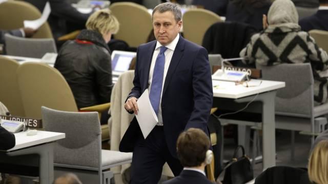 Ukraines Aussenminister Andrej Deschtschyzja nach seiner Rede