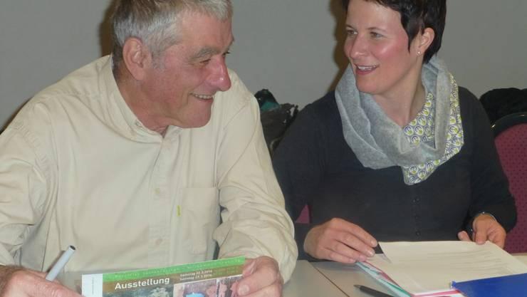 Gut gelauntes Co-Präsidium an der Museums-Hauptversammlung in Attiswil: Nicole Rebholz Ingold und Jörg Hohl.                 Foto: ps