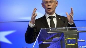 EU-Ratspräsident Hermann van Rompuy vor den Medien