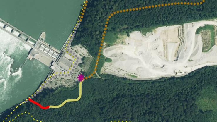 Ausschnitt: Der Rundwanderweg Chleigrütgraben. Die ganze Karte mit Legende finden Sie weiter unten.