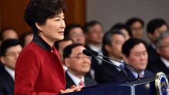 Südkoreas Präsidentin Park bei ihrer Neujahrspressekonferenz