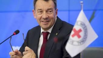 IKRK-Präsident Maurer spricht an einer Medienkonferenz in Moskau