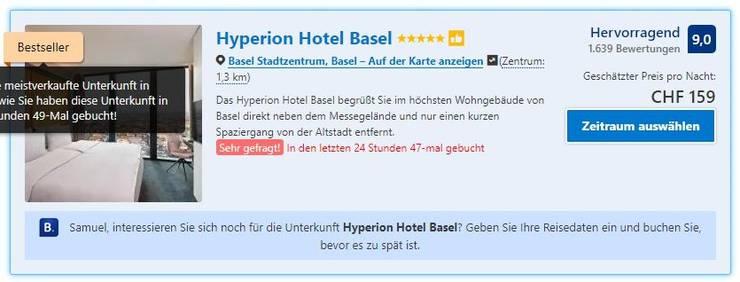Am Mittwoch war das «Hyperion» noch ein 5-Sterne-Hotel. Nach Anfrage der bz verschwand der fünfte Stern von der Website.