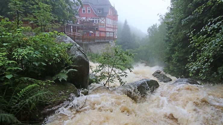 Dauerregen liess in Deutschland zahlreiche Flüsse anschwellen und sogar über die Ufer treten.