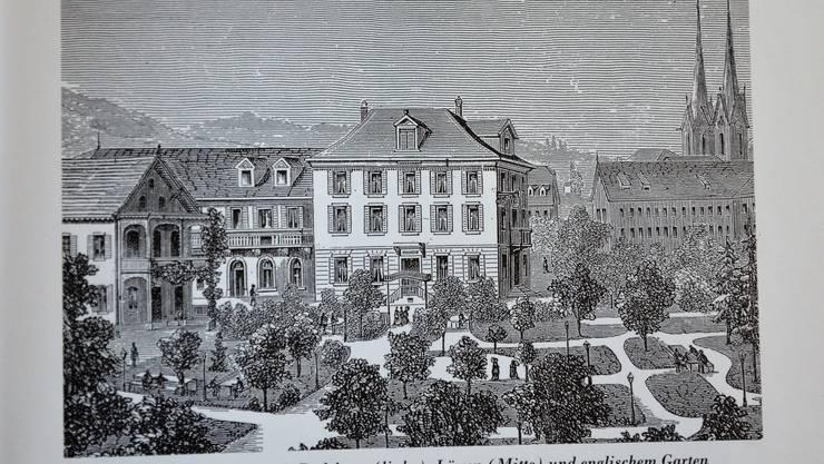 Mineral- und Sodbad Muri mit Badehaus (links), Löwen (Mitte) und englischem Garten.