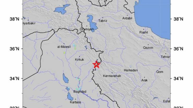 Die Karte zeigt das Epizentrum des Bebens an der Grenze zwischen dem Irak und dem Iran.