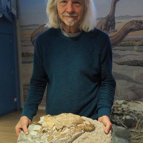 Grabungsleiter Ben Pabst präsentiert den in Frick entdeckten Raubsaurier. Beim fleischfressenden Saurier handelt es sich um einen seltenen Fund.