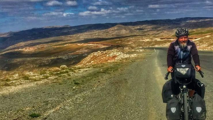 Meter für Meter hinauf auf den Pass: Guido Huwiler in der Türkei.