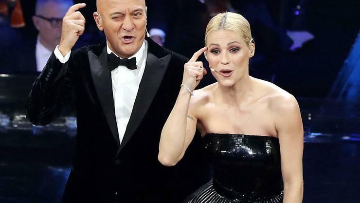 Der italienische Schauspieler Claudio Bisio und Schweizerin Michelle Hunziker waren die Moderatoren der 69. Ausgabe des Schlagerfestivals in San Remo.