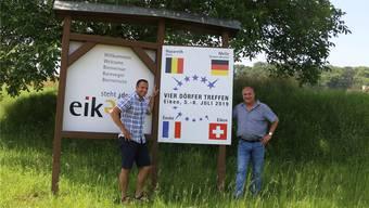 Freuen sich auf das Vier-Dörfer-Treffen: OK-Präsident Daniel Saridis (l.) und Gemeindeammann Stefan Grunder. Dennis Kalt