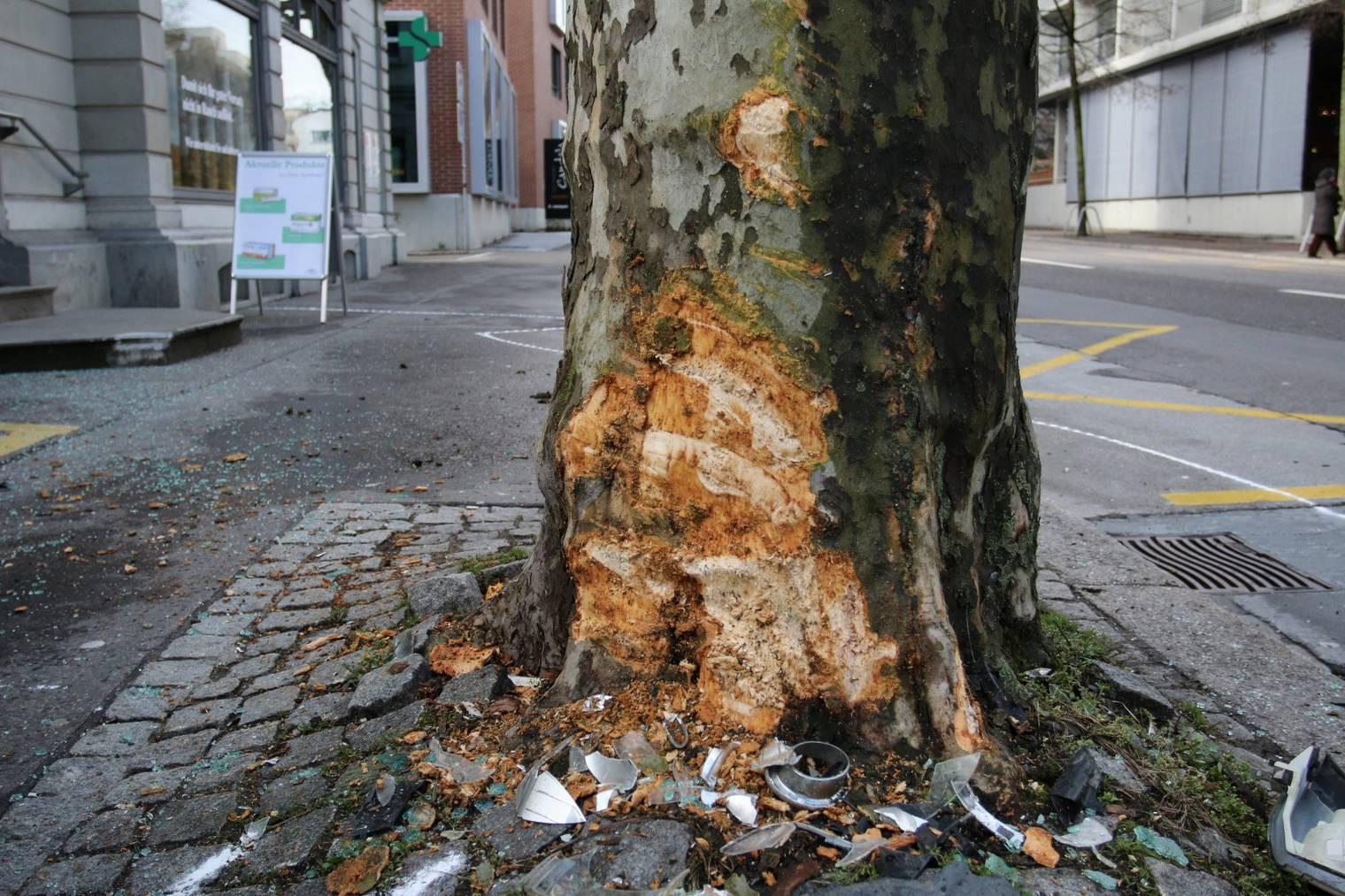 Der Baum, in welchen die 74-Jährige fuhr, sieht jetzt so aus. (Bild: Stapo SG)
