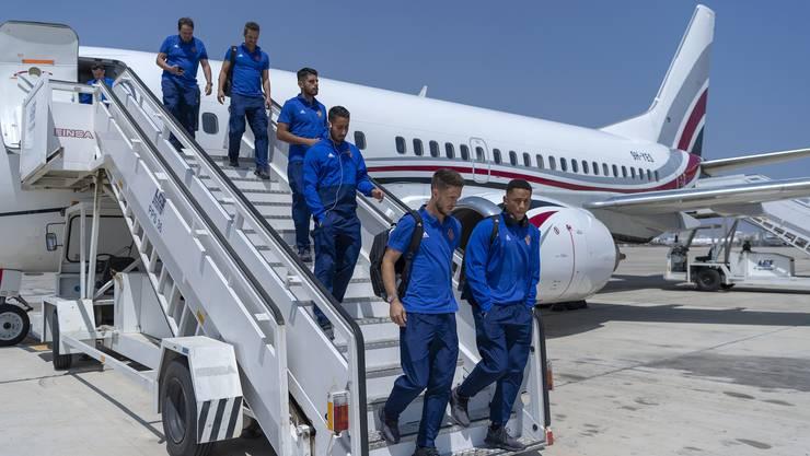 Die FCB-Stars um Ricky van Wolfswinkel (vorne links) landen auf Zypern. Ihre Mission: die Europa-League-Qualifikation.