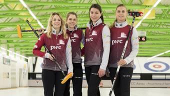 Sie vertreten die Schweiz in Pyeongchang (v.l.): Das Curlingteam Aarauum Skip Silvana Tirinzoni, Manuela Siegrist, Esther Neuenschwander und Marlene Albrechts.