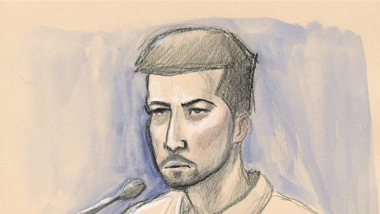 Thomas N. am ersten Prozesstag – so sieht ihn AZ-Zeichner Marco Tancredi.